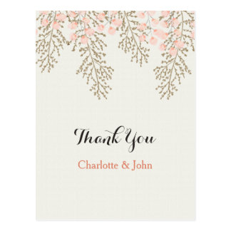 ivory blush gold floral Thank You notes Postcard
