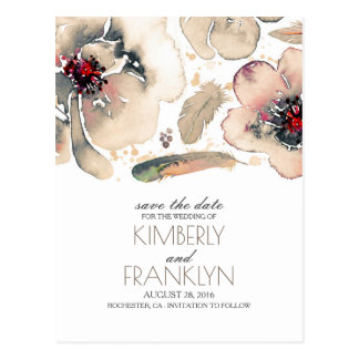 Ivory Boho Floral Blush Watercolor Save the Date Postcard