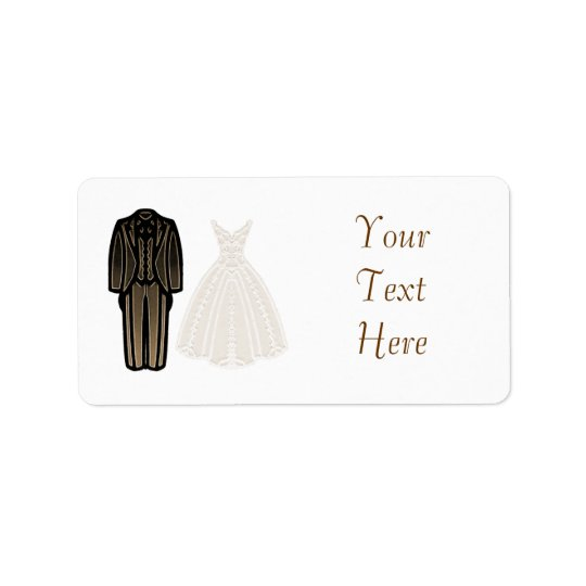 Ivory Bride and Groom Label Address Label