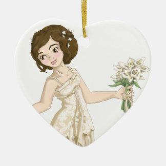 Ivory Bride Ceramic Heart Decoration