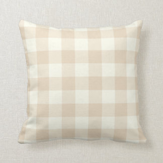 Ivory Brown Gingham Throw Pillow