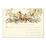 Ivory Cherry Blossom Vintage Love Birds Wedding Personalized Announcements