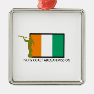 IVORY COAST ABIDJAN MISSION LDS CTR Silver-Colored SQUARE DECORATION