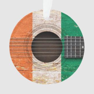 Ivory Coast Flag on Old Acoustic Guitar