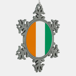Ivory Coast Flag Pewter Snowflake Decoration