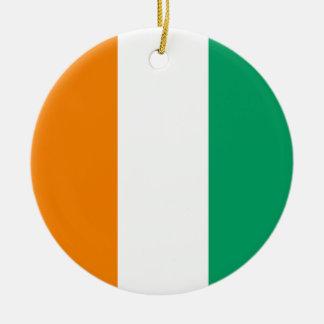 Ivory Coast Flag Round Ceramic Decoration