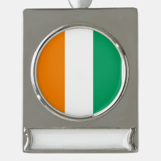 Ivory Coast Flag Silver Plated Banner Ornament