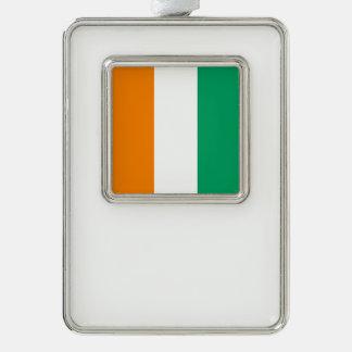 Ivory Coast Flag Silver Plated Framed Ornament