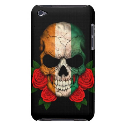 Ivory Coast Flag Skull with Red Roses iPod Touch Covers