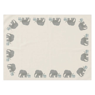 Ivory Color with Revolving Cute Elephant Border Tablecloth