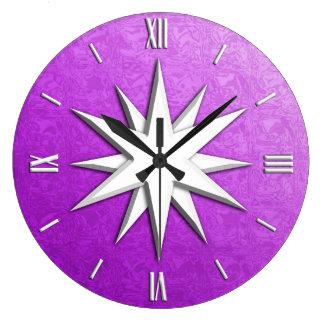 Ivory compass rose - amethyst glass background clocks