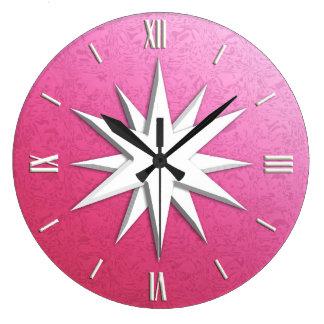 Ivory compass rose - rose quartz background wallclock