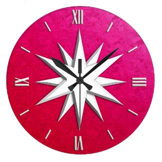 Ivory compass rose - ruby glass background wallclock