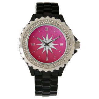 Ivory compass rose - ruby glass background wristwatch
