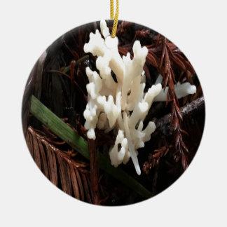 Ivory Coral Fungus Ceramic Ornament