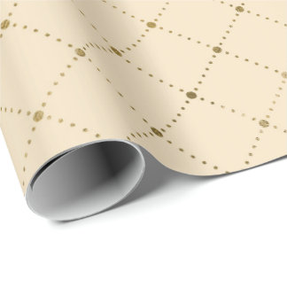 Ivory Creamy Gold Crystals Grill Geometry Glam Wrapping Paper