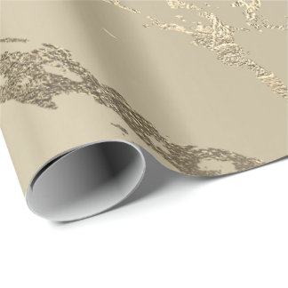 Ivory Creamy Gold Marble Shiny Glam Abstract VIP Wrapping Paper
