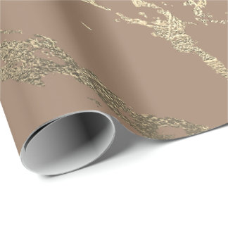 Ivory Creamy Powder Foxier Gold Marble Shiny Glam Wrapping Paper