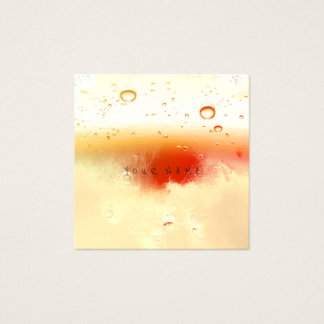 Ivory Creamy Red White Abstract Water Aqua Balls Square Business Card