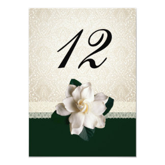 Ivory Damask and Gardenia Wedding Table Number 11 Cm X 16 Cm Invitation Card