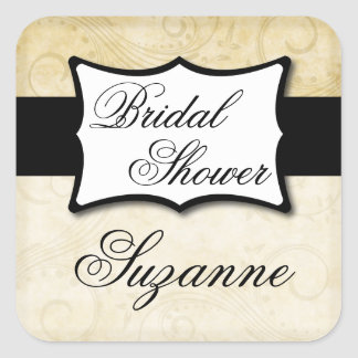 Ivory Damask Bridal Shower Square Sticker