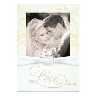 Ivory Damask - Elegant Photo Wedding Invitations