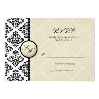 Ivory Damask Monogram Wedding RSVP 9 Cm X 13 Cm Invitation Card
