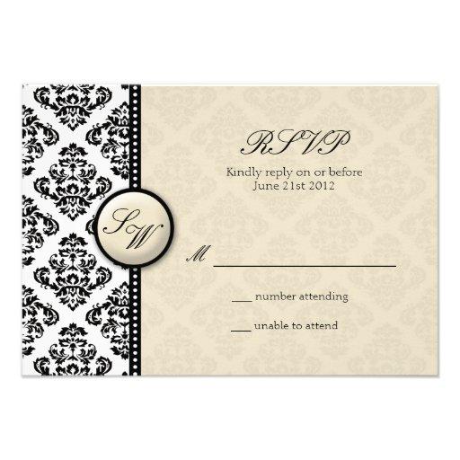 Ivory Damask Monogram Wedding RSVP Custom Invite