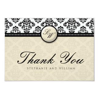 Ivory Damask Monogram Wedding Thank You Card