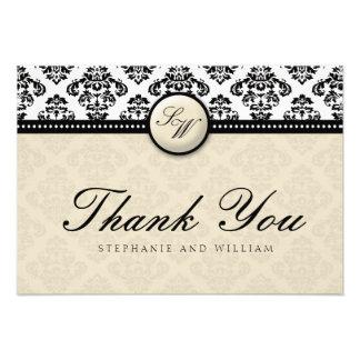 Ivory Damask Monogram Wedding Thank You Card Personalized Invitation