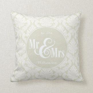 "Ivory Damask ""Mr & Mrs"" pillow, personalized Cushion"