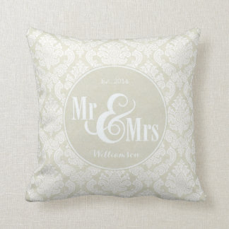 "Ivory Damask ""Mr & Mrs"" pillow, personalized Throw Pillow"