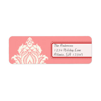 Ivory Damask On Pink with Red Return Address Label