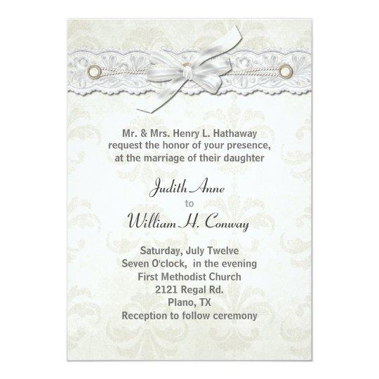 Ivory Damask Wedding Invitation