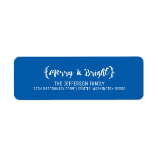 Ivory Elegant Sketched Merry and Bright Holiday Return Address Label