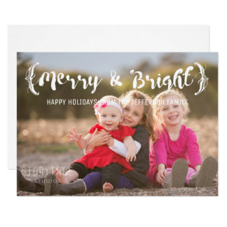 Ivory Elegant Sketched Merry & Bright Photo Card