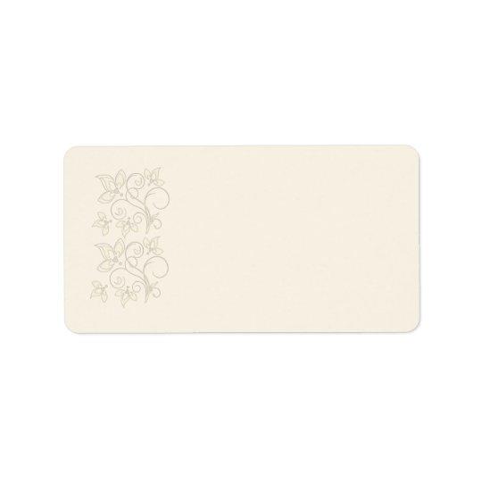 Ivory Floral Address Label