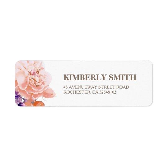 Ivory  Floral Botanical Bloom Wedding Return Address Label