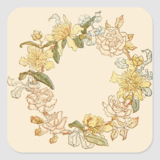 Ivory Flower Wreath Square Sticker