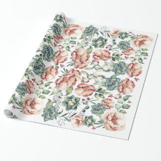ivory flowers and succulents fall vintage wrapping paper