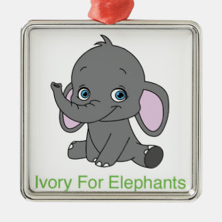 Ivory For Elephants Silver-Colored Square Decoration