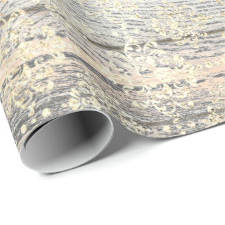 Ivory Foxier Metallic Damask Gold Wood Rustic Wrapping Paper