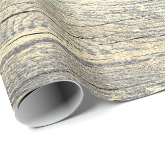 Ivory Foxier Metallic Shabby Gray Gold Wood Rustic Wrapping Paper
