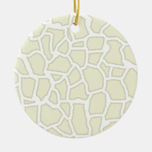 Ivory Giraffe Animal Print Christmas Tree Ornaments