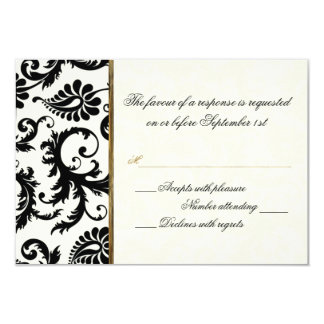 Ivory, Gold, and Black Damask Reply Card 9 Cm X 13 Cm Invitation Card