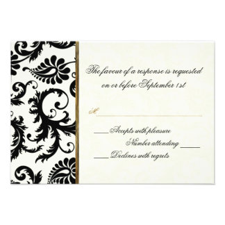 Ivory, Gold, and Black Damask Reply Card on Linen Personalised Invites