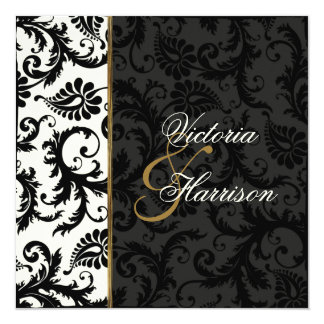 Ivory, Gold, and Black Damask Wedding Invitation