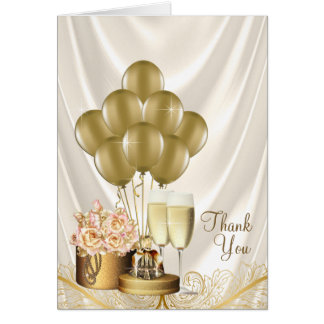 Ivory Gold Champagne Thank You Cards