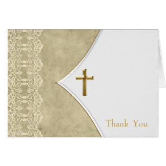 Ivory Gold Cross Baptism Christening Thank You Car Card