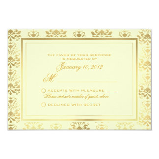 Ivory & Gold Damask Custom Wedding RSVP Card
